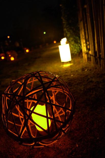 和を感じさせる照明が足元を照らします。
